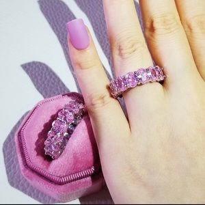 Icy Pink Passion CZ Eternity Band Ring
